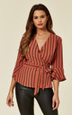 Brown Stripe Wrap Over Blouse by Oeuvre