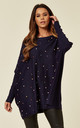 LEXANN – Pearl Oversized Batwing Navy Jumper by Blue Vanilla