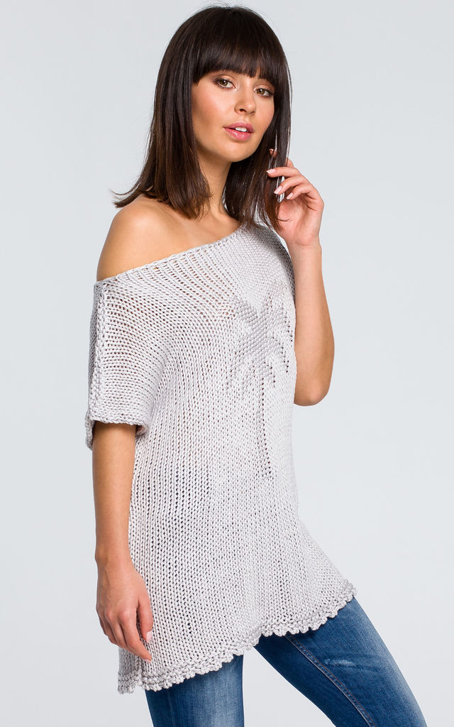 Short Sleeve Knit Top With Palm Design in Grey by MOE