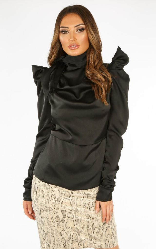 Black Satin Structured Blouse With Neck Tie by Dressed In Lucy