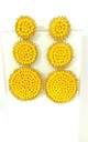 Yellow Beaded Three Tier Earrings by Olivia Divine Jewellery