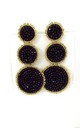Black Beaded Three Tier Statement Earrings by Olivia Divine Jewellery