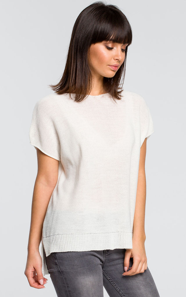 Kimono Sleeve Knit Top in White by MOE
