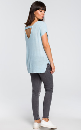 Kimono Sleeve Sweater with Back Cut Out in Light Blue by MOE