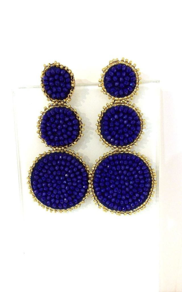 Blue Beaded Three Tier Statement Earrings by Olivia Divine Jewellery