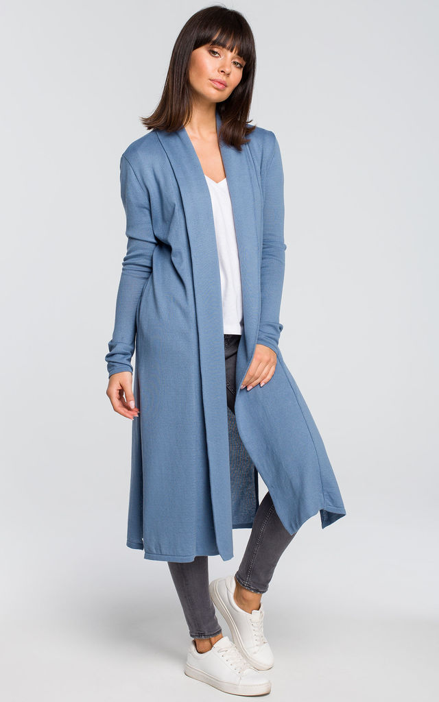 Long cardigan with double collar - blue by MOE