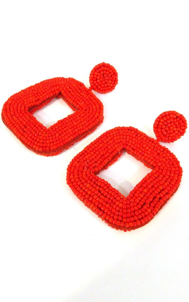 Red Beaded Square Statement Earrings by Olivia Divine Jewellery