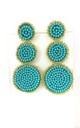 Turquoise Beaded Three Tier Statement Earrings by Olivia Divine Jewellery