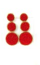 Red Beaded Three Tier Statement Earrings by Olivia Divine Jewellery