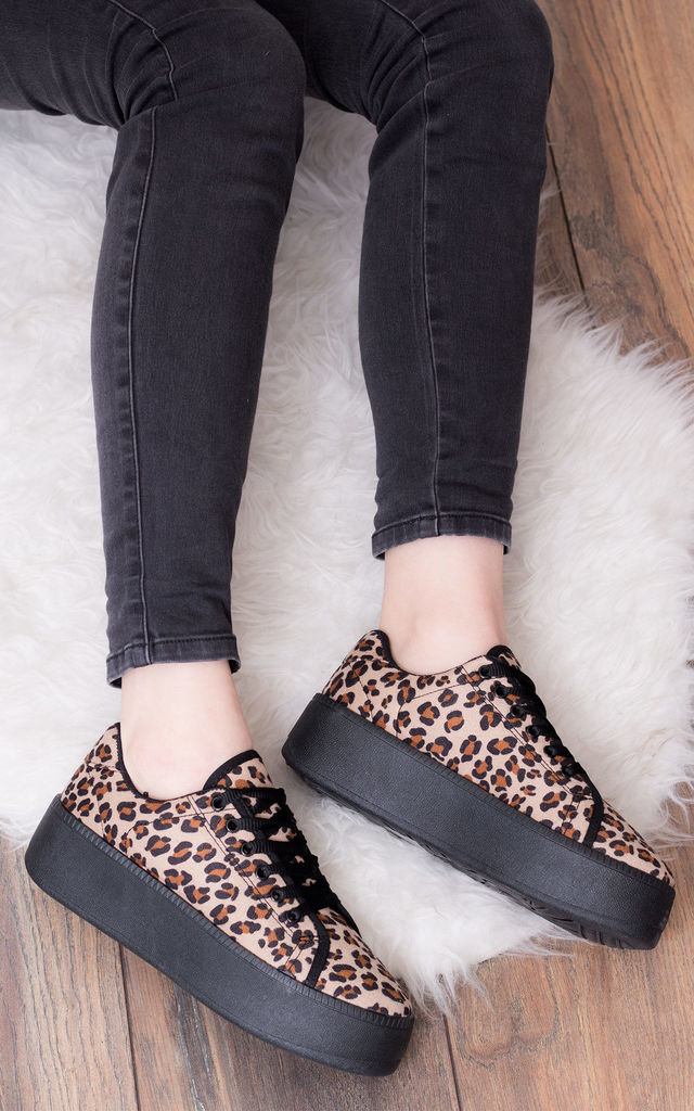 A-OK Lace Up Flat Trainers Shoes - Leopard Suede Style by SpyLoveBuy