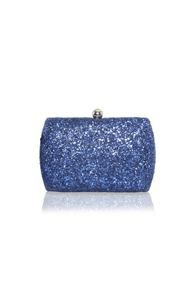 Sylvia Navy Glitter Box Clutch Bag by Perfect Shoes Product photo