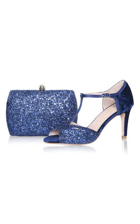 Sylvia Navy Glitter Box Clutch Bag by Perfect Shoes