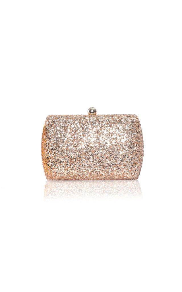 Sylvia Gold Glitter Box Clutch Bag by Perfect Shoes