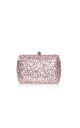 Sylvia Rose Gold Glitter Box Clutch Bag by Perfect Shoes