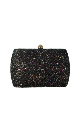 Sylvia Black Glitter Box Clutch Bag by Perfect Shoes Product photo