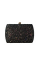 Sylvia Black Glitter Box Clutch Bag by Perfect Shoes