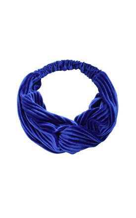 Royal Blue Knot Front Velvet Headband by LULU IN THE SKY