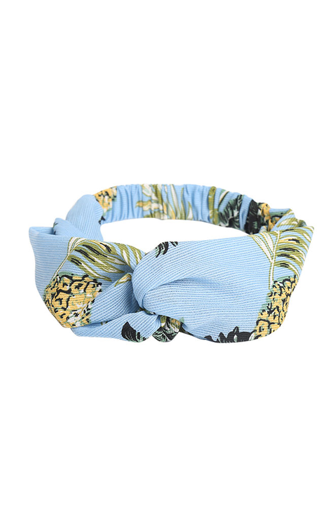 Baby Blue Pineapple Print Headband by LULU IN THE SKY