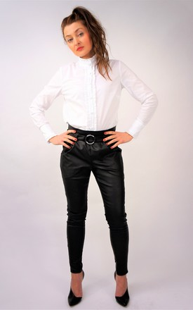BLACK ELEGANT PANTS WITH HIGH WAIST O-RING BELT by E&A Fashion