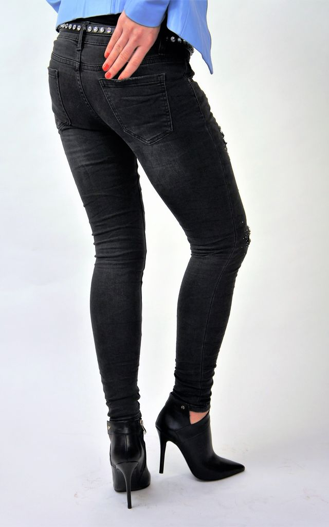 WASHED SLIM BLACK JEANS WITH RHINESTONES ON LEGS by E&A Fashion