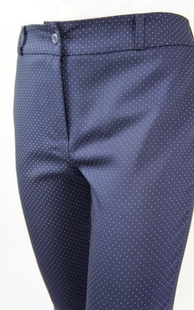 NAVY POLKA DOT SLIM FIT TROUSERS by E&A Fashion