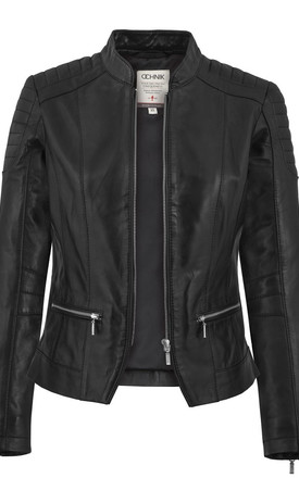 Black slim fit leather jacket with zipped pockets by E&A Fashion