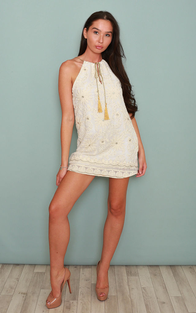 Ariana White Halter Tie Dress by Leigh Taylor