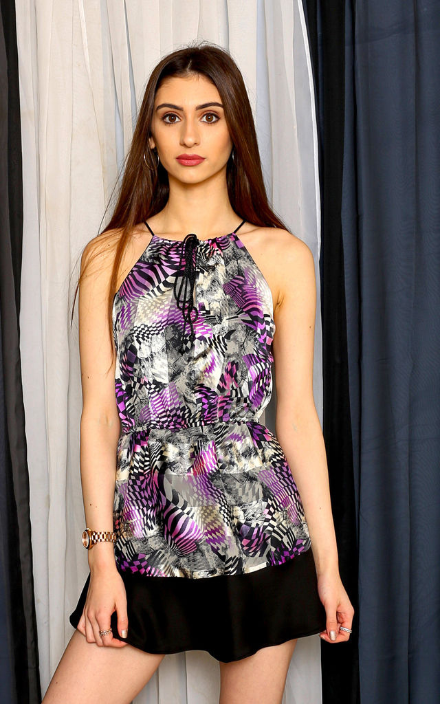 Millie Purple and Black Print Swing Dress by Leigh Taylor
