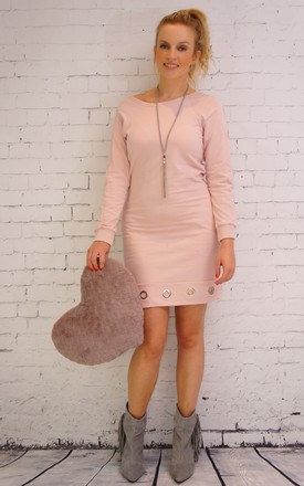 Pale pink long sleeves dress with silver rings by E&A Fashion