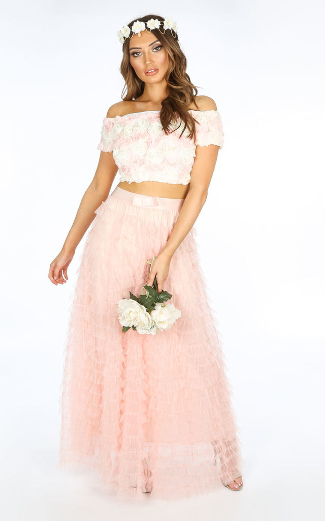 Bridal Maxi Layered Tulle Skirt In Pink by Dressed In Lucy