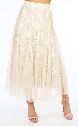 Cream Tulle Crochet Midi Skirt by Dressed In Lucy