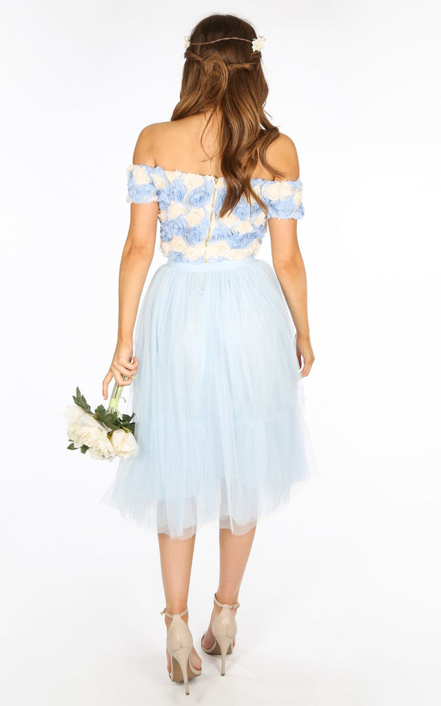 Midi Tulle Skirt In Blue by Dressed In Lucy