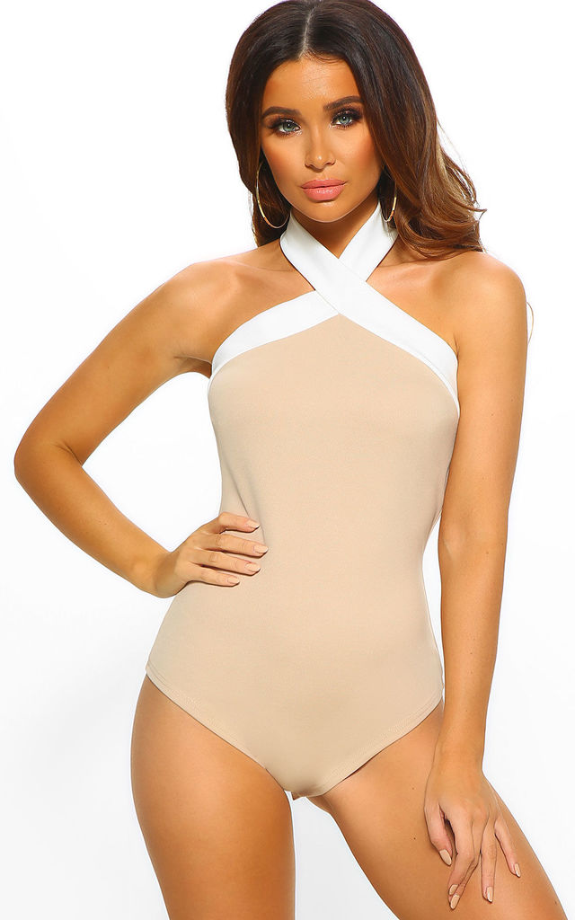 Never Enough Nude And White Halterneck Bodysuit by Pink Boutique