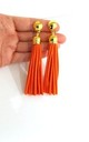 Orange Faux Suede Clip-On Tassel Earrings by Olivia Divine Jewellery