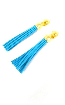 Turquoise Faux Suede Clip-On Tassel Earrings by Olivia Divine Jewellery