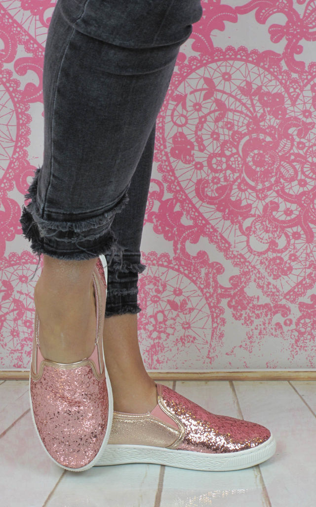 Pink Glitter Casual Pumps by Fashion Mad