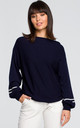 Sweater with wide sleeves - navy blue by MOE