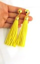 Yellow Faux Suede Clip-On Tassel Earrings by Olivia Divine Jewellery