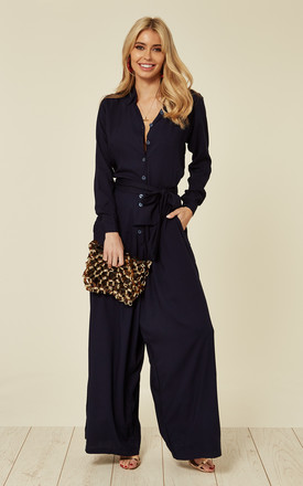 Navy Palazzo Shirt Jumpsuit by Ruby Rocks Product photo