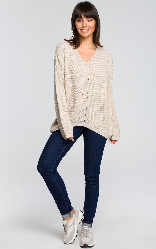 Asymmetric v neck sweater in beige by MOE