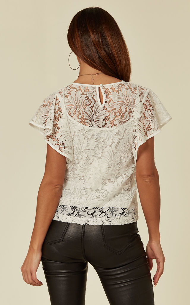 White Floaty Lace Top with Cami Lining by ANGELEYE