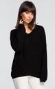 Asymmetric v neck sweater in black by MOE