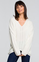 Oversized V neck sweater in white by MOE