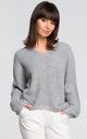 Asymmetric v neck sweater in grey by MOE
