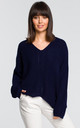 Asymmetric v neck sweater in navy blue by MOE