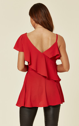 Red One Shoulder Ruffle Layered Top by ANGELEYE