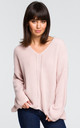 Asymmetrical V neck sweater in pink by MOE