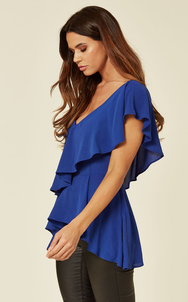 Blue One Shoulder Ruffle Layered Top by ANGELEYE