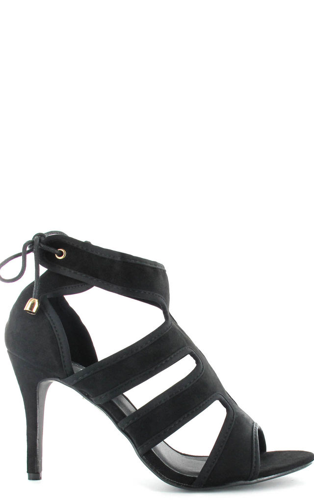 Black Faux Suede Tie Up stiletto by Fashion Mad