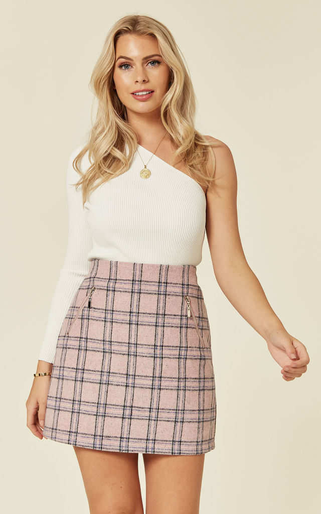 NOLWEN – Check Pink Mini Skirt by Blue Vanilla